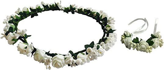 Loops n Knots Cool White Floral Tiara/Crown with Wrist Band/Puff Wrap for Girls & Women-Combo Pack