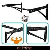 Barra/Sbarra per trazioni Muro Parete+Kit Fissaggio Fitness Body Building Bicipiti Schiena 100x90 cm