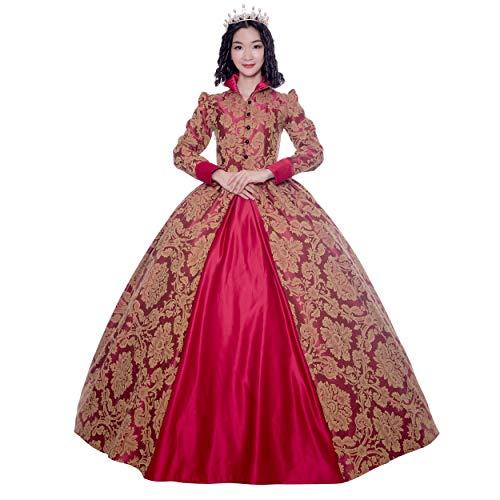 CountryWomen Damen Renaissance Queen Elizabeth i / Tudor Gothic Jacquard Fantasie Kleid Game of Thrones-Kleid Halloween-kostüme Large Rot -