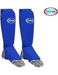 Espinilla Kick Boxing almohadillas pie y pierna almohadillas MMA Protector elástico azul, color , tamaño S/M