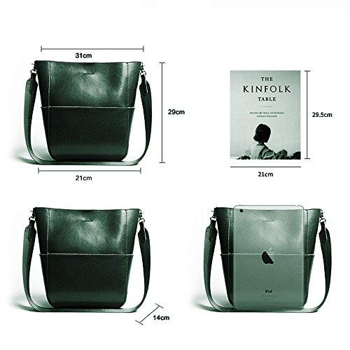 Leathario Borsa donna pelle vera tracolla nero spalla eleganti lavoro vintage cuoio fashion borsone sacca shopping weekend verde