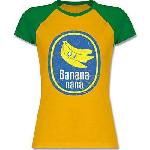 Comic Shirts - Banana nana Vintage - XXL - Gelb/Grün - L195 - zweifarbiges Baseballshirt / Raglan T-Shirt für Damen (Bananas T-shirt Frauen)