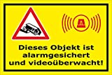 Video-Überwachung Aufkleber - Objekt alarmgesichert videoüberwacht 15x10cm – S00348-017-C – Kamera-Überwachung +++ in 20 Varianten erhältlich
