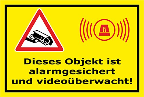 Melis Folienwerkstatt Aufkleber - Objekt Video-überwacht - 15x10cm - S00348-017-C 20 VAR
