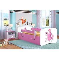 Preisvergleich für Kocot Kids Kinderbett Jugendbett 70x140 80x160 80x180 Rosa mit Rausfallschutz Matratze Schubalde und Lattenrost Kinderbetten für Mädchen - Prinzessin auf Dem Pony 180 cm