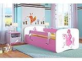 Kocot Kids Kinderbett Jugendbett 70x140 80x160 80x180 Rosa mit Rausfallschutz Matratze Schublade und Lattenrost Kinderbetten für Mädchen - Prinzessin auf dem Pony 180 cm