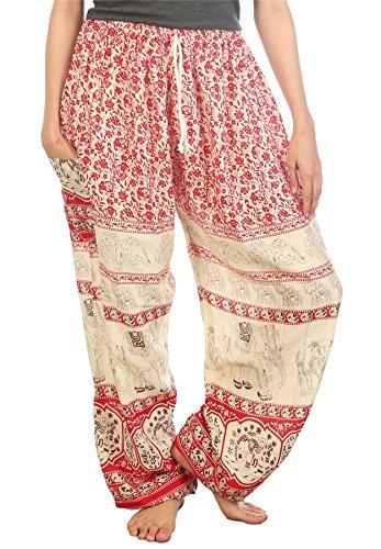 Lofbaz Mujer Floral Elefantes Cordón Harén Boho Pantalones Rojo M