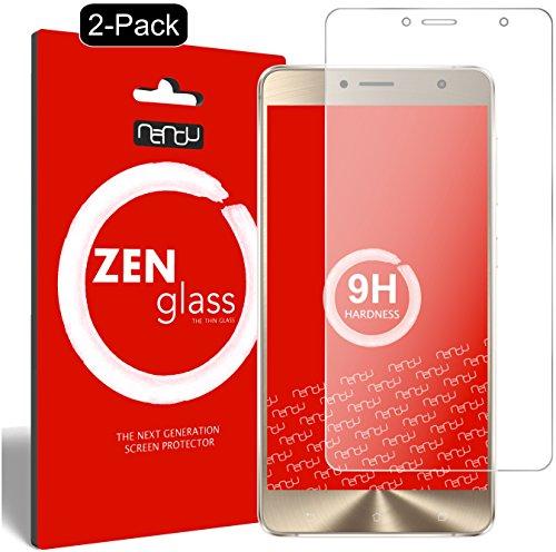nandu I ZenGlass [2 Stück] Flexible Glas-Folie für ASUS Zenfone 3 Deluxe ZS550KL 5,5 Zoll Panzerfolie I Bildschirm-Schutzfolie 9H