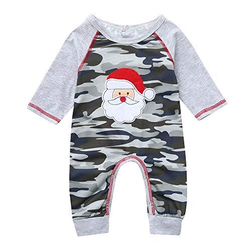 Bauycy Overall Baby Kinder T-Shirt Jungen und Mädchen langärmelige Santa Claus drucken Camouflage Overall Strampler Harbin Weihnachten Kleid Baby Freizeithemd Sweatshirt ()