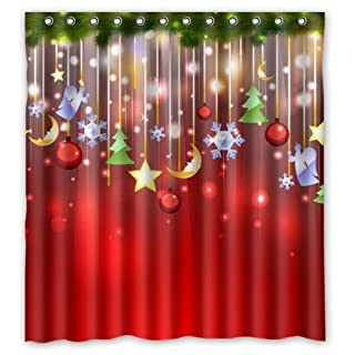 GUEQUITLEX Merry Christmas Shower Curtain, Maroon Bowknot Golden Jingle Bell Romantic Bulbs Bling Star Festival Decorative Bath Curtain with C-type Hooks (Style 6, 60W x 72L)