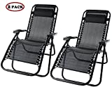 Life Carver zero gravity Chair with Headrest sun Loungers Garden Patio Chair Reclining Armrest Camping Relax Chair Bed Outdoor Recliner (Set of 2, Black)