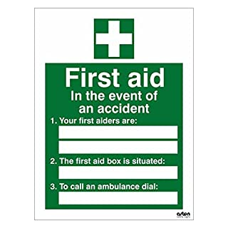 First Aid sign with space to write where your first aiders are, where the first aid box is situated and what number to dial to call an ambulance. 150mm x 200mm (Self Adhesive Sticker)
