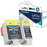 LCL(TM) 30 30XL 30B 30CL (2-Pack Negro Tricolor) Cartuchos de Tinta Compatible para KODAK ESP 1.2,ESP 3.2,ESP 3.2S,ESP C100,ESP C110,ESP C115,ESP C300,ESP C310, ESP C315,ESP C330, ESP C360,ESP Office 2100/2150/2170 Hero 2.2,Hero3.1,Hero5.1