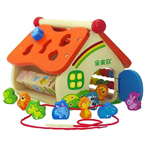 LHYP Hölzerne Tier Weisheit Haus Sortierer Würfel Spielzeug Form der Geometrie Stacking Spiel, Geburtstagsgeschenk Spielzeug Für Alter Über 3 + Kind Kinder Kleinkinder Baby Jungen Mädchen