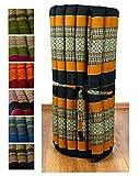 livasia Kapok Rollmatte in 190cm x 75cm x 4,5cm der Marke Asia Wohnstudio; Liegematte bzw. Yogamatte, Thaikissen, Thaimatte als asiatische Rollmatratze (schwarz/orange)