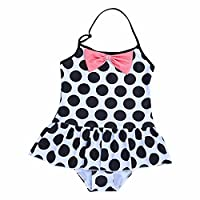 FEESHOW Kids Girls One-piece Swimsuit Halter Polka Dots Bowknot Swimwear Bathing Suit White&Black 2 Years