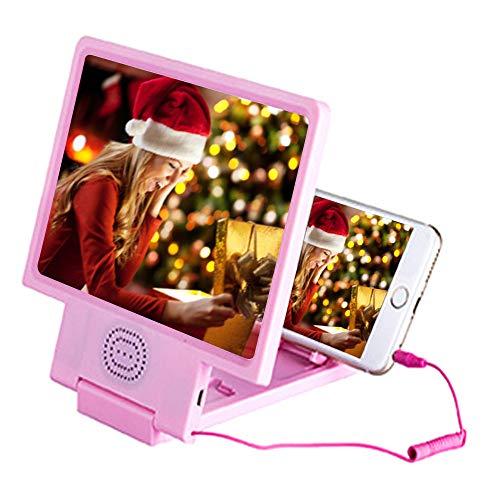 Fenebort Accesorios de teléfono 3D Phone Screen Magnifier Amplificador estereoscópico de sobremesa de Cuero de 8 Pulgadas