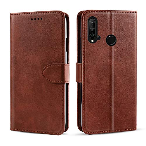 futypei Cover Lenovo Z6 Lite, Premium Leather Case Wallet Leather Case with Credit Cards Slot and Holder Function Protective Magnetic Case Flip Case for Lenovo Z6 Lite Brown