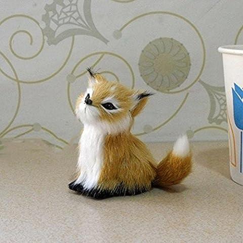 DFLY Brown gefälschte Polyethylen Pelz baumelnde Modell Fox Spielzeug für Haus Simulation Modell Geschenk Spielzeug Dekor Zubehör (Gelb)