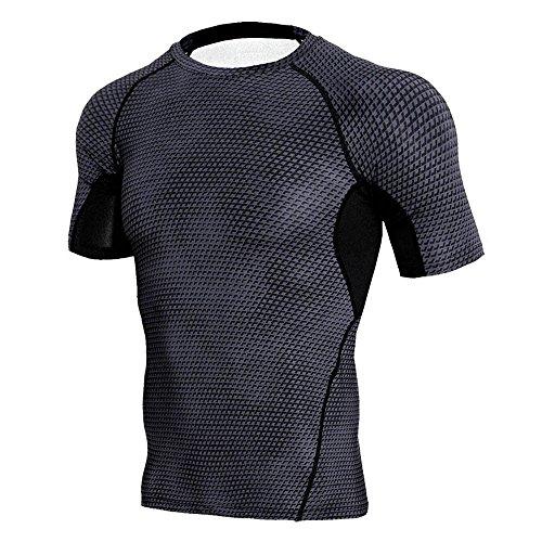 Saingace Herren Kompressions-Shirt Kurzarm Comfort Fit Atmungsaktiv Schnell Trocknend Funktionsshirts