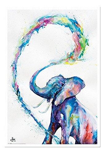 Marc Allante Elefante Poster Artistico Bianco Con cornice & Stainato Opaco Laminato - 96.5 x 66 cms (Approx 38 x 26 pollici)