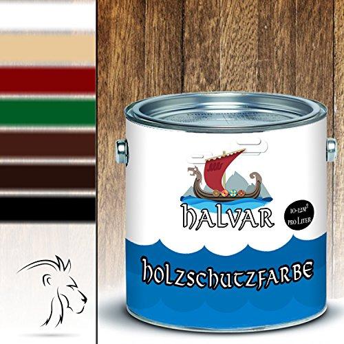 Halvar Holzschutzfarbe skandinavische Wetterschutzfarbe in Weiß, Beige, Grün, Schwedenrot, Rotbraun, Dunkelbraun & Schwarz Holz-Lack wetterbeständiger Langzeitschutz (5 L, Rotbraun)