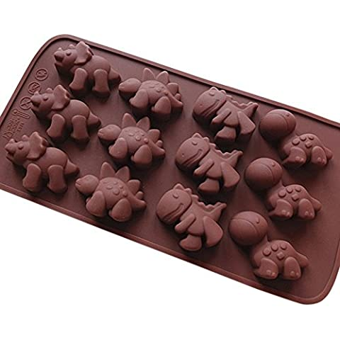Seedan Silicone Gel Non-stick Chocolate Candy Baking Mold Ice Cube (12 Cavity, Dinosaur Shape, Chocolate) by Seedan