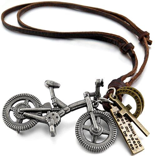 MunkiMix Metalllegierung Legierung Echtleder Anhänger Halskette Silber Ton Braun Doppel Doppelseitig Ring Fahrrad Bike Kruzifix Kreuz Einstellbar Verstellbaren Herren,Damen (Ring Bike)