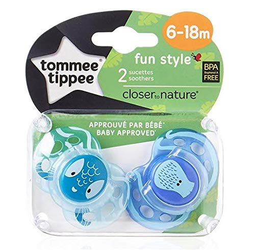 """TOMMEE TIPPEE""""FUN STYLE""""- 2x Physiological Silicone Pacifiers Dummies Soothers (6-18m)"""