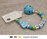 Baby SCHNULLERKETTE mit NAMEN | Schnullerhalter mit Wunschnamen - Mädchen & Jungen Motiv Stern und Eule in türkis