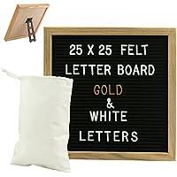 Gadgy ® Fieltro Letter Board 25x25 cm | Retro Tablero de Letras de Madera | Pizarra con 340 Letras & Numeros Blancos y Color Dorado con con Soporte y Bolso