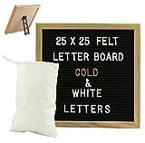Gadgy ® Feltro Letter Board 25x25 cm | Retro Lavagna con Lettere da Legno | Con 340 Lettere & Numeri Bianco e Oro Colorato con Supporto e Borsa