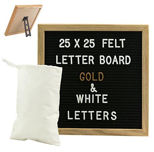 Gadgy ® Letter Board Holz und Filz 25x25 cm | Buchstaben Tafel Buchstabenbrett Rillentafel | Mit 340 Weiße und Gold Farbige Buchstaben & Zahlen, Ständer und Beutel | Retro Felt