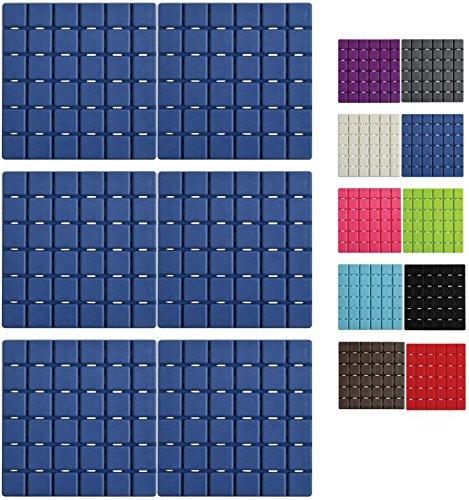 MSV Premium Duschmatte Badematte Badewanneneinlage Anti Rutsch Pads - 6 Stück - antibakteriell rutschfest mit Saugnäpfen - Blau - ca. 13 x 13 cm - duftet nach Rosen - waschbar bei 60° Grad
