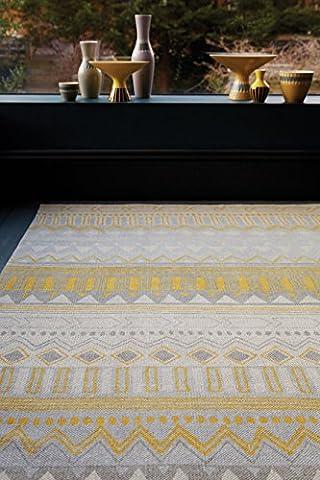 Moderner Designer Teppich OUSE Rug 160x230cm ON11 Tribal Mix Yellow Gelb 100% Baumwolle