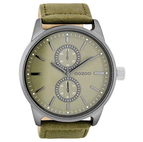 OOZOO C7837 Uhr Herrenuhr Lederarmband Metall 20m Analog grün