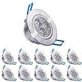 Pack of 10,Pocketman 220V 3W LED Recessed Ceiling Light Downlights Spotlight,Warm White,280300 Lumen(Equivalent 30W)