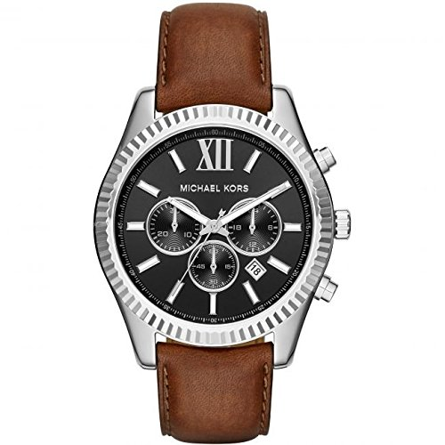 Michael Kors Men's Quartz Watch with Black Dial Analogue Display and Brown Leather Strap MK8456