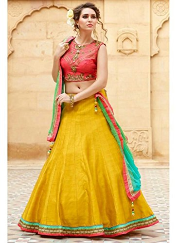 Ramapir Fashion Women's Yellow and Orange Colour Sleeveless Banglori Silk Latkan Banglori...