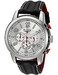 Chronograph The Race I von Elysee | Herrenuhr mit Marken Quarzuhrwerk | Herren-Chronograph mit Datumsanzeige und Stoppfunktion (schwarz / silber / gewölbtes Armband)