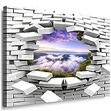 JULIA-ART 27wl7 XXXL - Format 150 - 100 cm Bild auf Leinwand Flüsse, Seen 3D Illusion Mauer Loch Wand Deko ideen - Natur, Landschaft Bilder