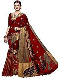 Saree (OrangeSell Women's Clothing Cotton Silk Embroidaried Red Saree Latest Designer Party Wear, Wedding Wear...