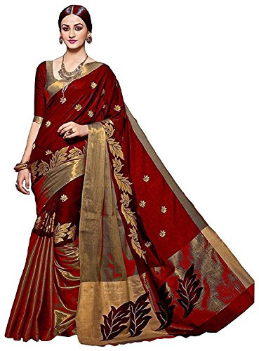 Arawins Party Wear Red Cotton Saree with Cotton Blouse