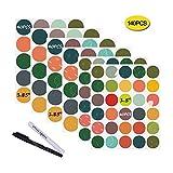Nardo Visgo Farbige Tafeletiketten: 140 runde Aufkleber + 2 Kreidemarker-Wasserdichte herausnehmbare Tafelaufkleber, ideal für Einmachgläser Pantries Crafts und Büros