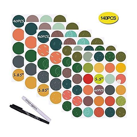 Nardo Visgo® Bunte Kreidetafel-Etiketten, runde Aufkleber, 140Stück, mit 2Kreide-Markierstiften, wasserfest,