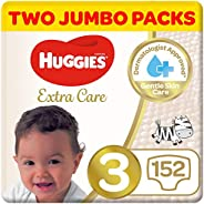 Huggies Extra Care, Size 3, Two Jumbo Packs, 152 Diapers