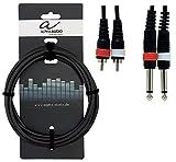 Alpha Audio 190215 Basic Line Double câble 3 m 2 x 6,3 mm Jack Mono/2 x Cinch Noir
