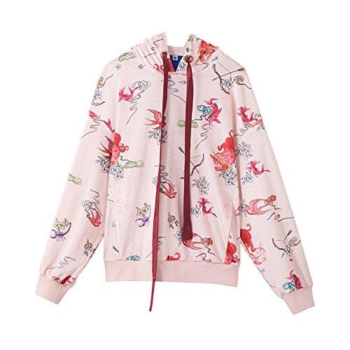 Xing Lin Pullover Con Cappuccio La Molla Della Nuova Corda Tirare Il Tappo Del Ladies' Maglione Light Pink