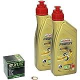Castrol POWER1 (10W - 40 Oil Set for Suzuki GN 250 from oil and oil 85-99 HiFlo Shaft Seal-Crankshaft