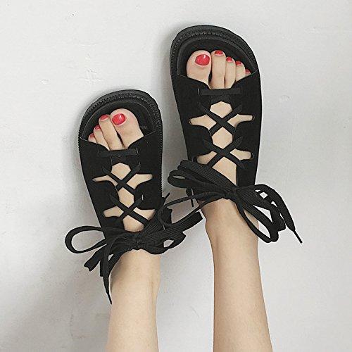 RUGAI-UE Sandali estivi scarpe da spiaggia fondo piatto gli studenti fondo spesso Lace comode scarpe da donna Black
